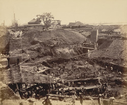 View of excavation for 80 feet entrance from south bank looking N.E. [Victoria Dock construction, Bombay].